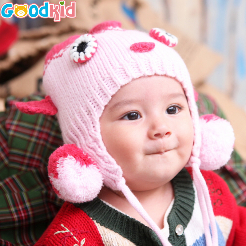 New 2016 Hot Autumn and winter newborn baby boy girl hat cotton octopus knitting pattern baby cap 6-24 months new born baby hat(China (Mainland))
