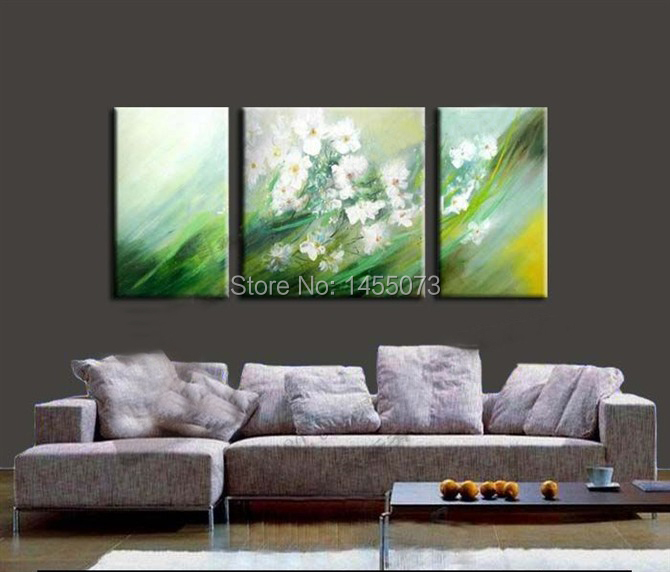 3 panel piece canvas wall art sets Handmade Orchid Flower Decoration Painting picture poster Oil Paintings,Group Oil Painting(China (Mainland))