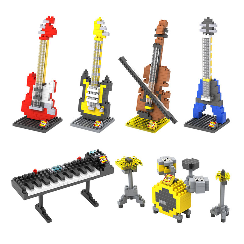 LOZ DIY Musical Instrument Mini Building blocks Models Guitar Bass Drum Kit Keyboard Violin Craft Present Gift(China (Mainland))