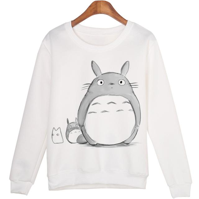 Свободного покроя 3D футболка женщины зимняя одежда мультфильм тоторо печать Moleton ...