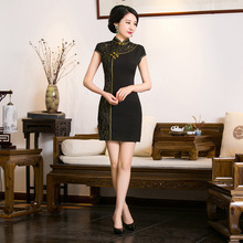 Buy New Arrival Chinese Traditional Women's Black Mandarin Collar Mini Qipao Mini Cheong-sam Dress S M L XL XXL F201637 for $39.78 in AliExpress store