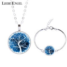 LIEBE ENGEL Life Tree Statement Necklace Bangles Bracelets Jewelry Sets Vintage Silver Color Jewelry Women Men Christmas Gift(China (Mainland))