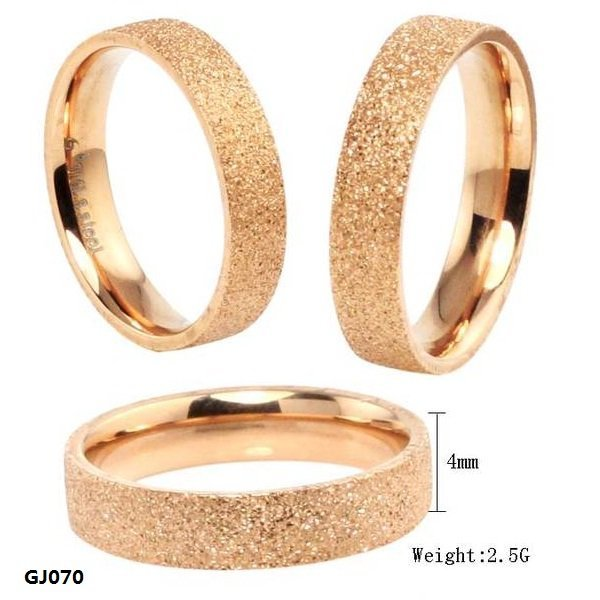 Fashion Jewelry High Quality 316L Stainless Steel Rings Rose Golden Dull Polish Single Ring Wedding Ring Engagement Ring GJ070