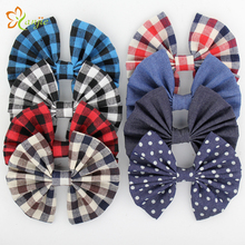 """Free Shipping 16pcs/lot 5"""" Infantile Big Plaid Knot Bow Barrette 2016 Popular European DIY Hair Accessories Promotional Gift(China (Mainland))"""