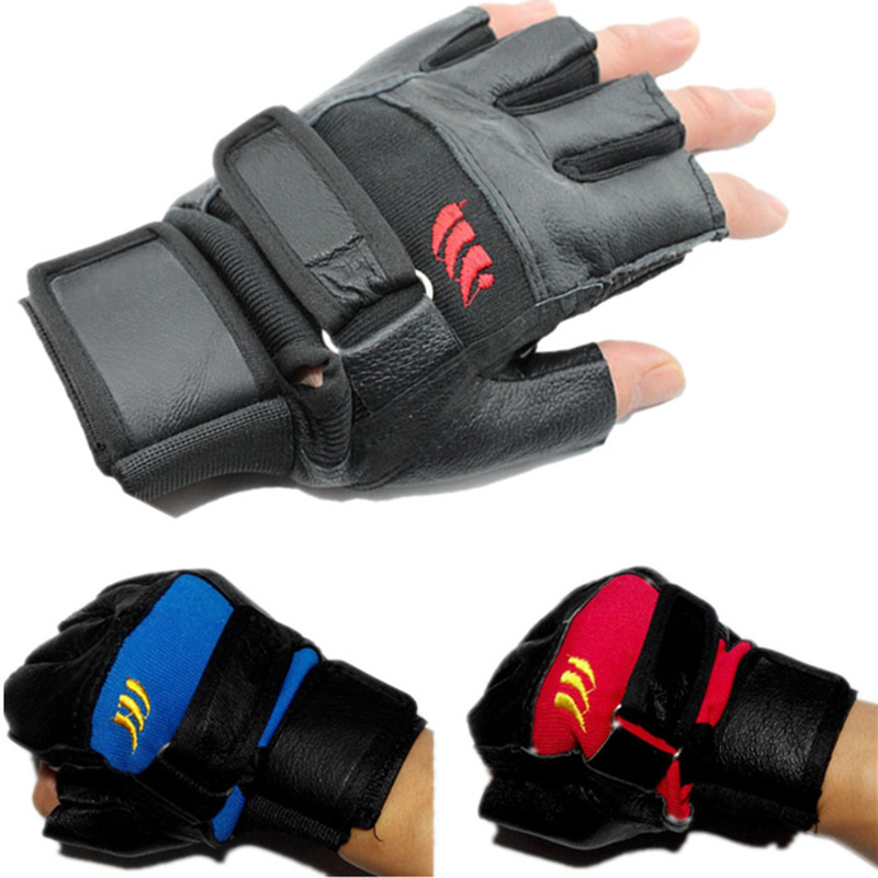 New Gym Body Building Training Fitness Gloves Sports Weight lifting Workout Exercise Fingerless Tactical Bicycle Leather Cycling(China (Mainland))