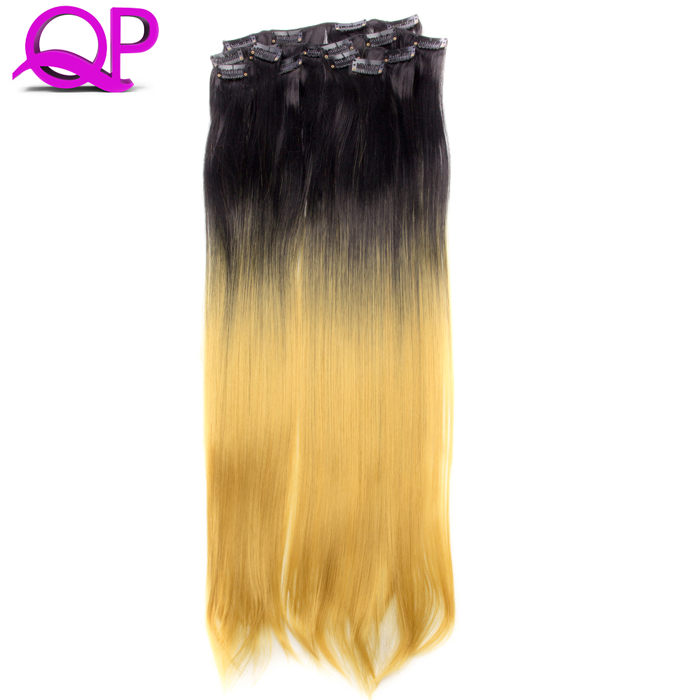 7 Clips Heat Resistant Fiber Synthetic Hair Extensions Straight T Color More Colors  High Temperature Hairpiece black  to yellow<br><br>Aliexpress