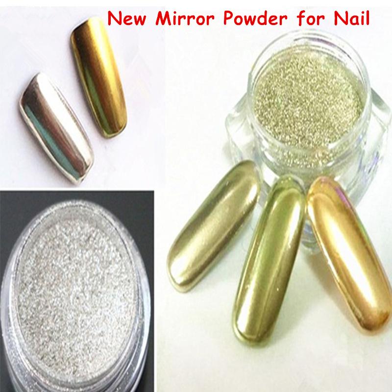 2g Aluminium Mirror Powder Silver Shining Magic Chrome Pigment Nail Art Glitter Powder Makeup Eye Shadow Powder Nail Decoration(China (Mainland))