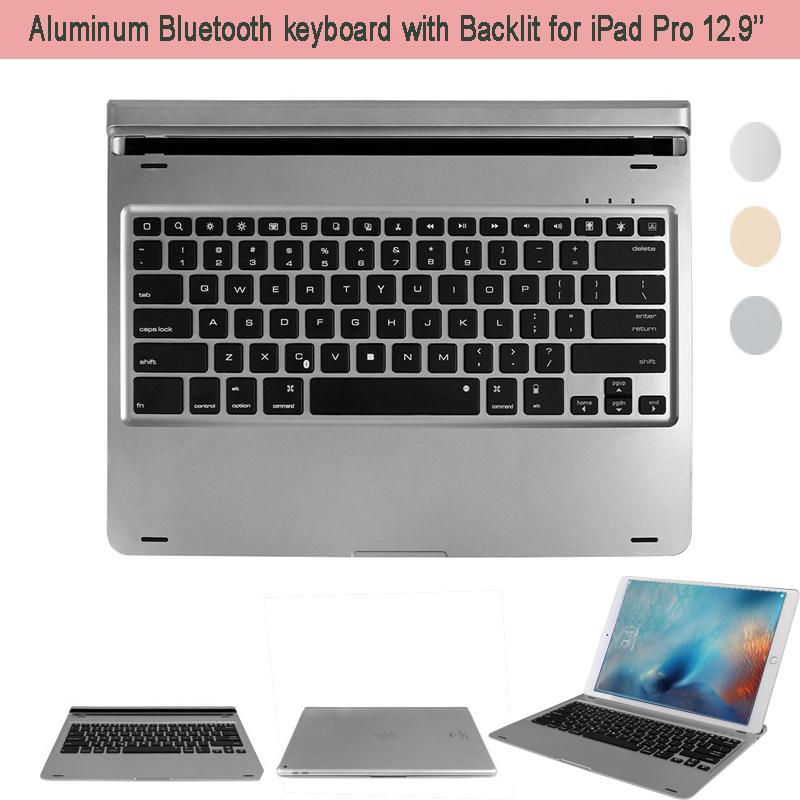Ultrathin Bluetooth Keyboard for iPad Pro Bluetooth V3.0 Wireless Aluminum Alloy Keyboard w/ Stands FOR Apple iPad Pro 12.9  <br><br>Aliexpress