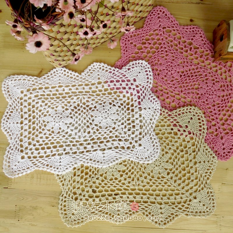 crochet lace table mat square doilies coaster for home decoration ...