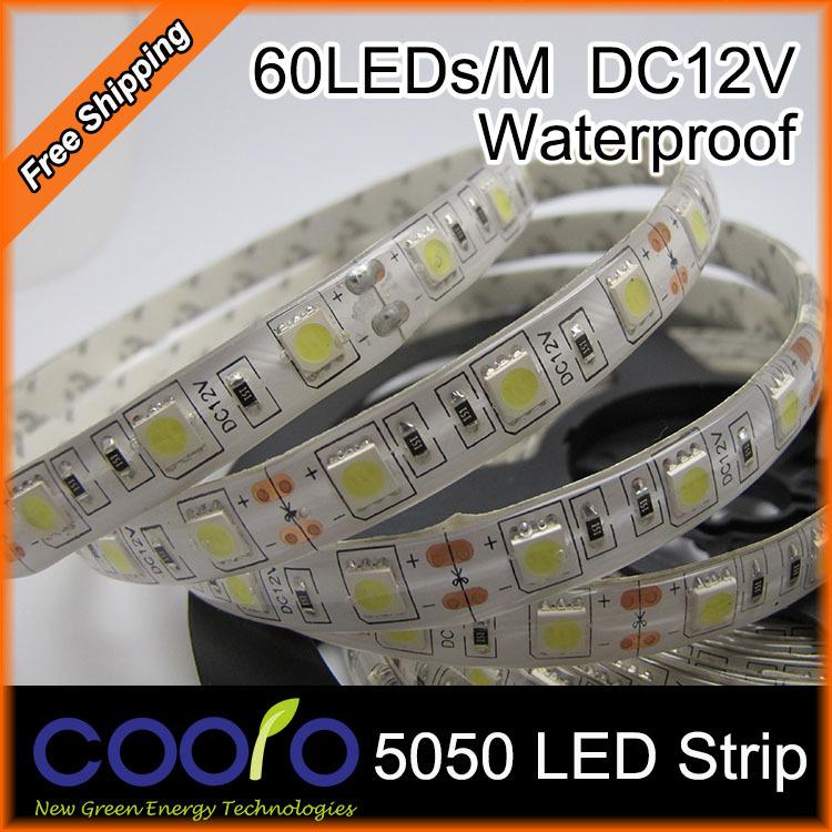 Waterproof LED Strip 5050 fiexible light 60Led/m,5m/lot DC12V,White,Warm white,Red,Green,Blue,Yellow,RGB,Free shipping(China (Mainland))