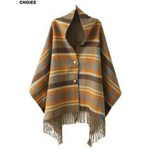 CHOIES Women Plaid Tartan Scarf Fall Winter 2015 New Tassels Button Down Faux Cashmere Shawl Poncho Cape Wrap Warm Pashmina
