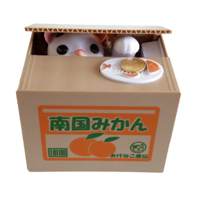 Discount Steal Coin Bank Piggy Bank Money Saving Box Gifts Cute Automated Cat White Wholesales(China (Mainland))