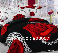sexy black red rose flower leopard skin printed bedding set 3D oil painting bed linen cotton full queen duvet covers sets 4pcs