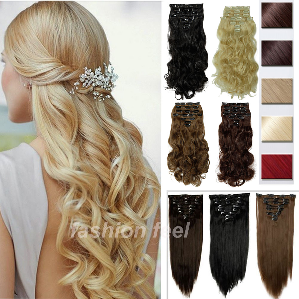 All Color & Length 8 PIECE 170g Curly/Wavy Clip in Full Head hair Extensions Synthetic Natural Hair Extensions Cosplay Hairpiece(China (Mainland))
