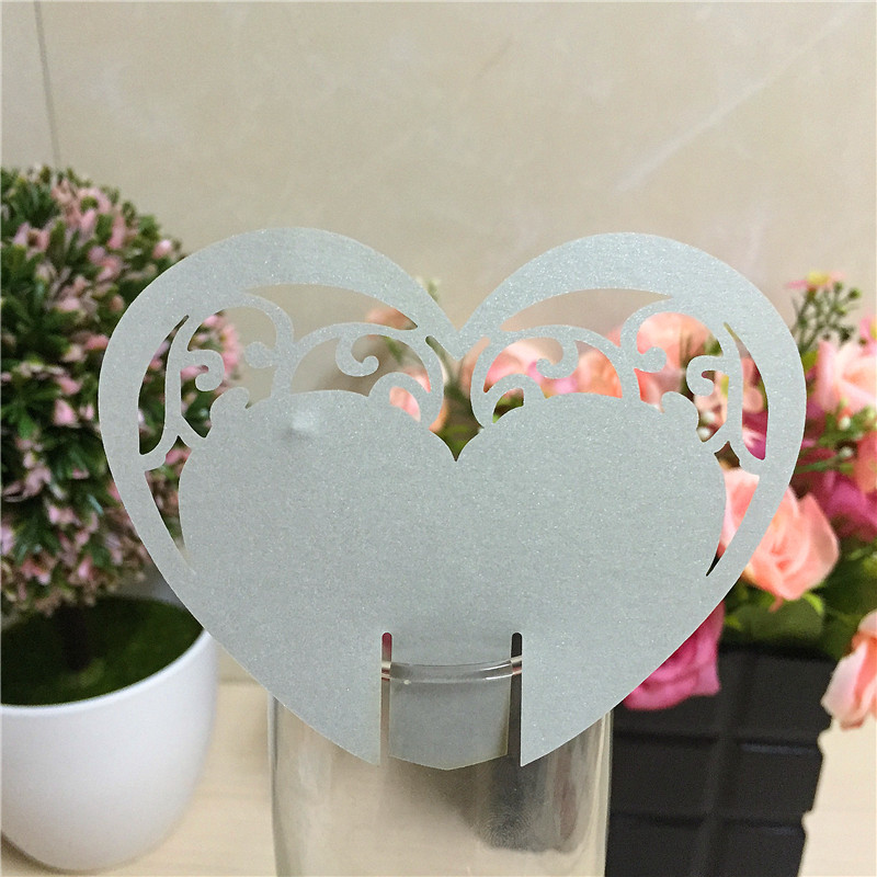 50pcs love heart laser Cut Paper Place Card Escort Cup Card Wine Glass Card wedding favors and gifts wedding decoration(China (Mainland))