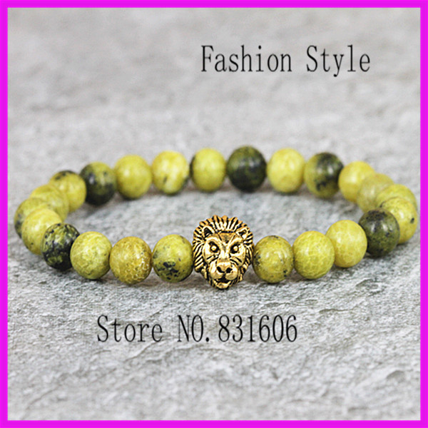10PCS Summer Style Gold Lion Chain Charm Bracelets with Straw Yellow Pine Agate stone Fine Jewelry For Women 2015 New Design(China (Mainland))