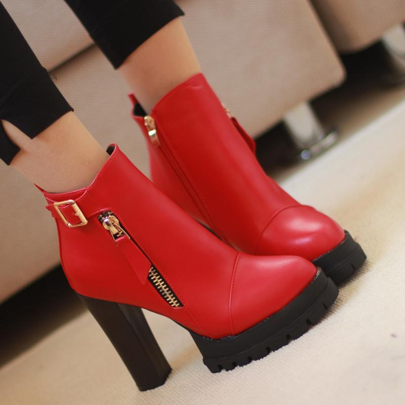 2015 winter season Martin boots, platform high heel booties tide wind thick with round-headed women boots <br><br>Aliexpress