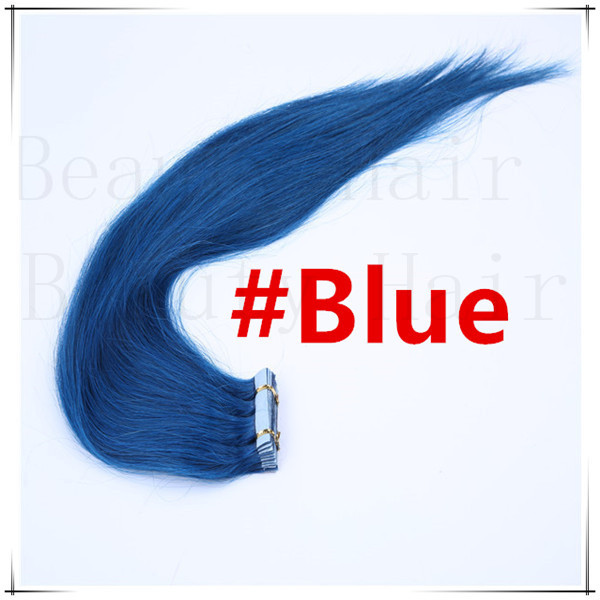 30g/40g/50g/60g70g 6A Grade 16''-24'' Blue Color 100% European Remy Human PU Tape Glue Skin Weft Hair Pieces Extensions 20pcs(China (Mainland))