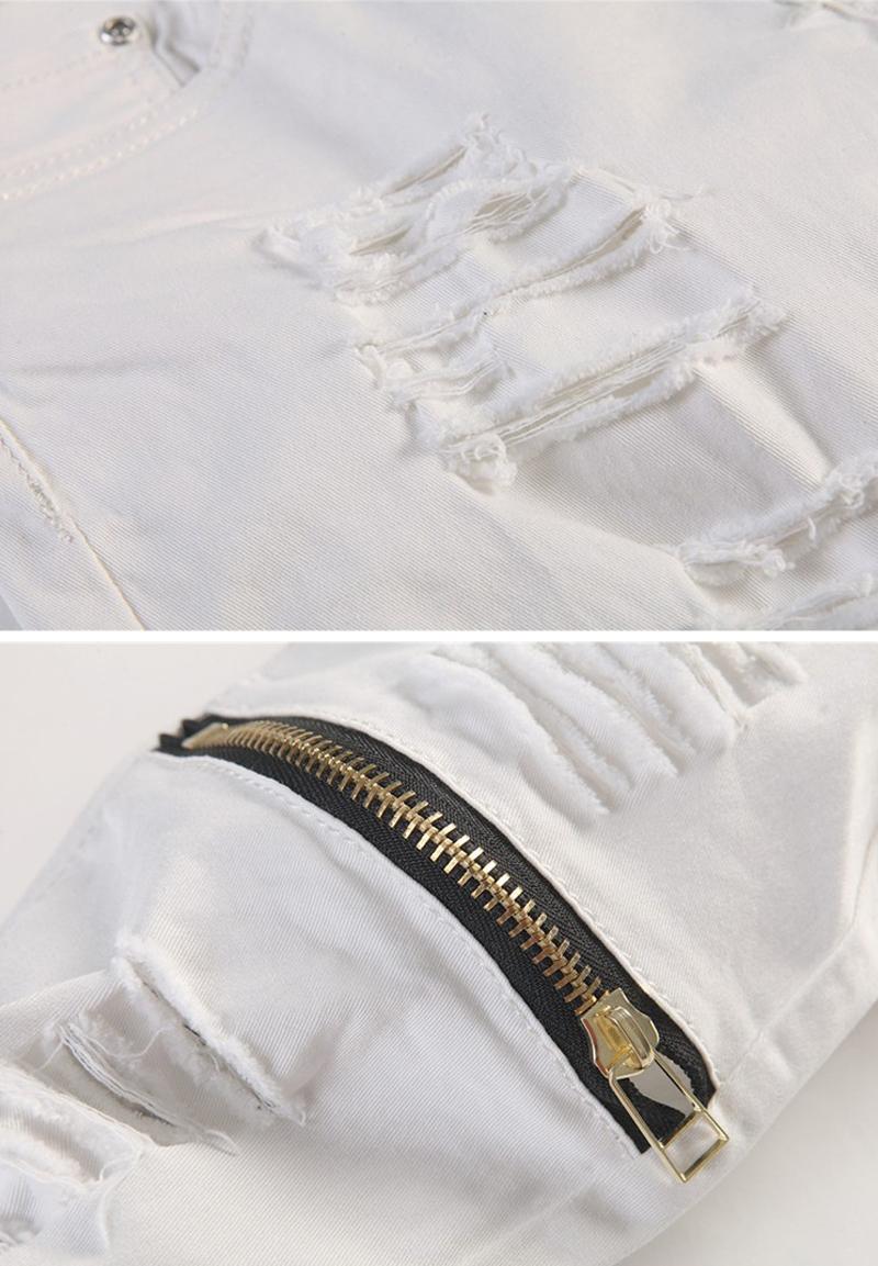 Скидки на Мода Марка Белый Досуг Карандаш Брюки Джинсы Мужские Молния Дизайн Сила Упругости Узкие Брюки Повседневная Хлопок Узкие Брюки
