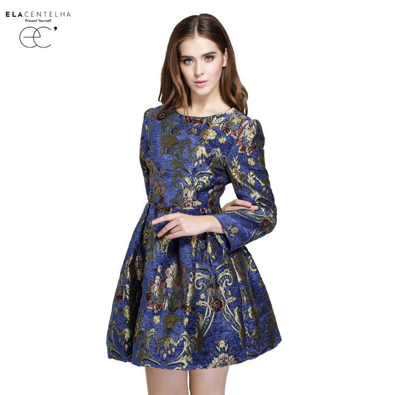 Elacentelha Brand High Quality Autumn Winter Women Fashion Embroidery Print Dress Casual Full Sleeve Slim Mini Womens DressesОдежда и ак�е��уары<br><br><br>Aliexpress