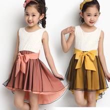 Summer chiffon lace stitching princess dress, girl dress Korean vest, bow dovetail princess dress, performance clothing