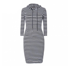 Women dress 2015 winter dress plus size casual women clothing chic sport striped hooded bodycon dresses vestidos(China (Mainland))