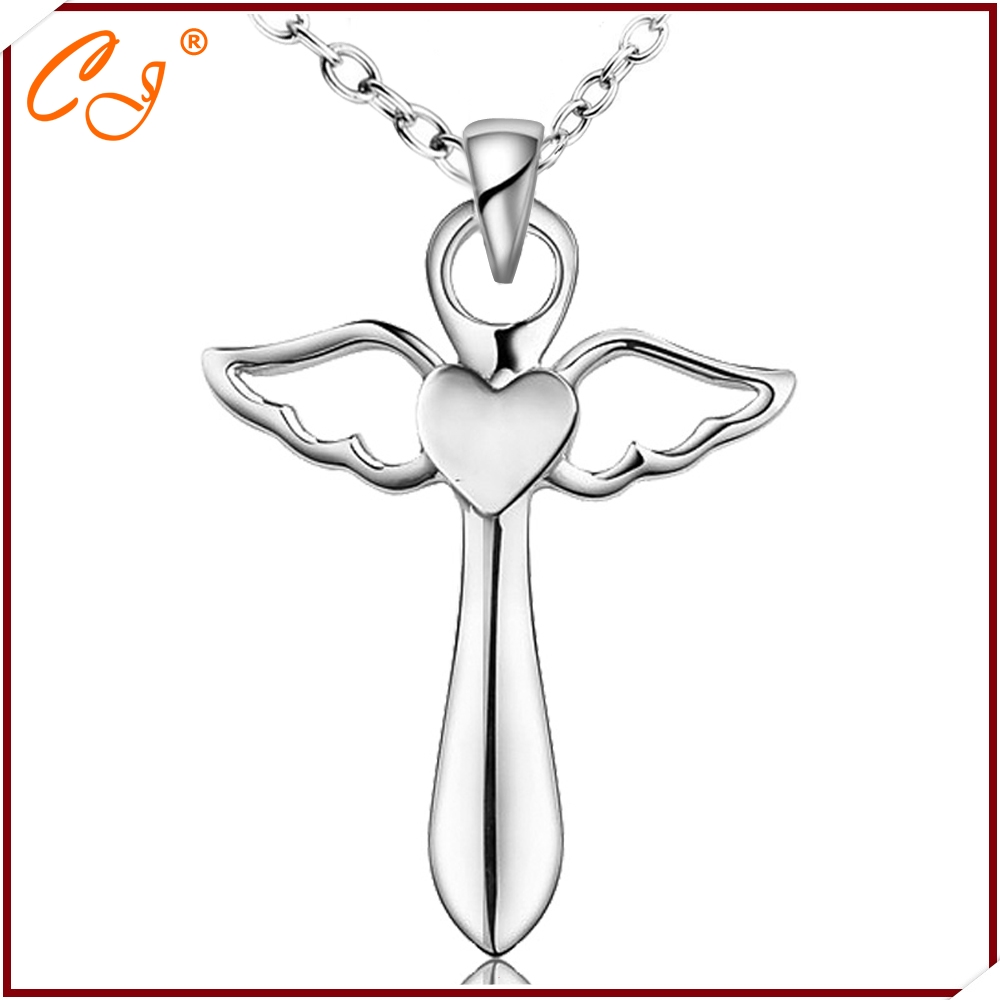 CTGNX8780 Genuine 925 Sterling Silver Cross Necklace Fashion Jewelry Angel Wings with A Heart Pendant Necklace Christmas Gift<br><br>Aliexpress