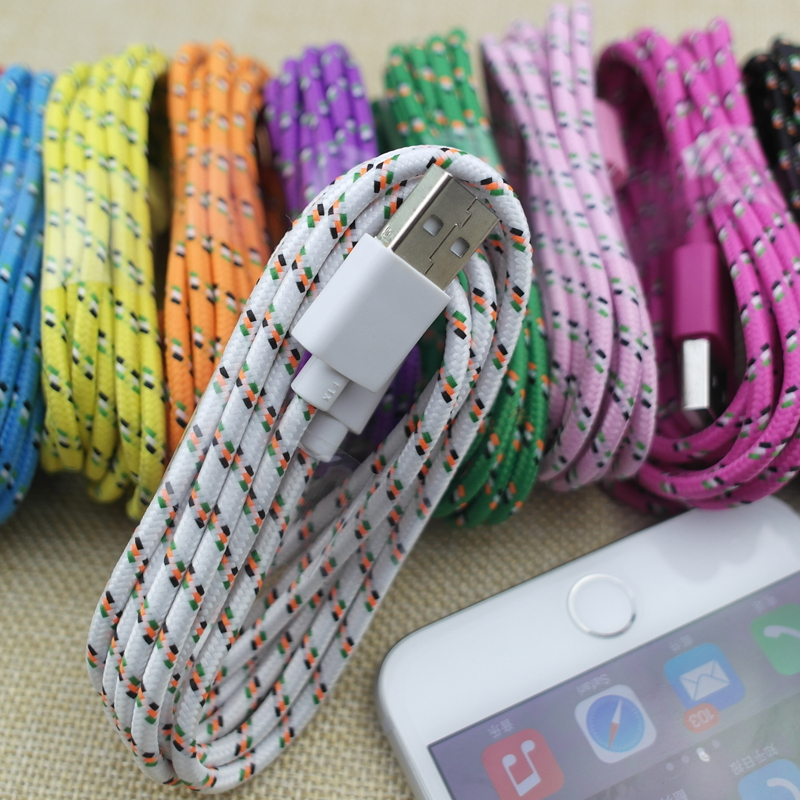 3FT/1M 6FT/2M 10FT/3M Colorful 8Pin Rope Braided Nylon USB Data Sync Charger Cable Wire for iPhone 5 5s 6 6Plus IOS7-8.4(China (Mainland))