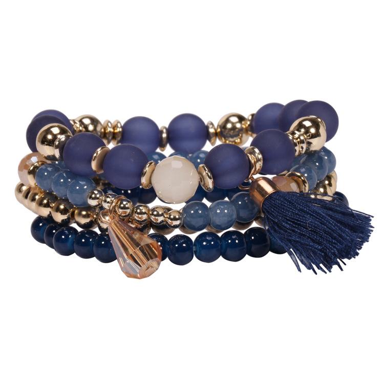 Fine Jewelry Multi Layer Glass Beaded Tassel Bracelet Imitation Strand Bead Bracelet Bangle for WOmen FC0032(China (Mainland))