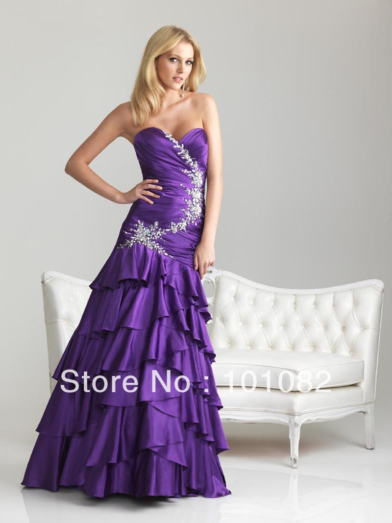 sweetheart purple turquoise layers soft satin beadings