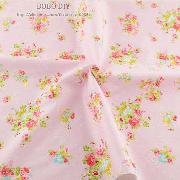 50cmx160cm piece pink flower cotton patchwork fabric kids for Fabrics for children s curtains