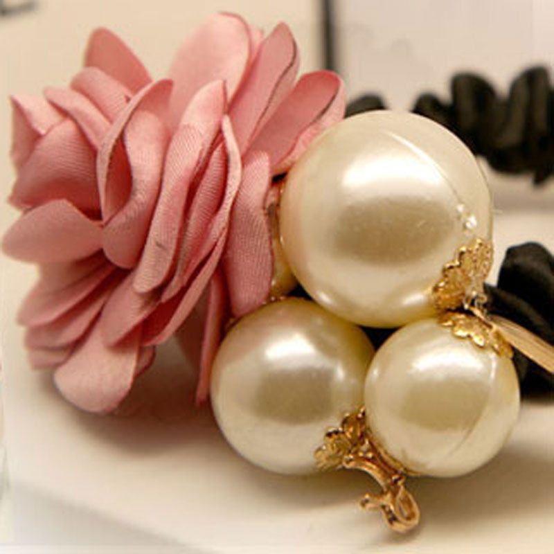 1Pc Pearl Rose Flower Scrunchy Hairbands Ponytail Holder Elastic Hair Bands Ties/Ring Flower Headband For Girls Hair Accessories(China (Mainland))