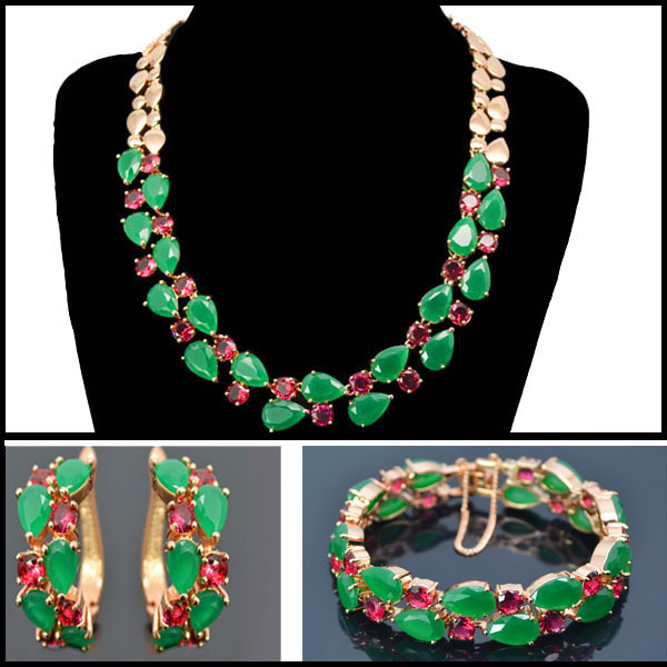 Beautiful new design luxury green zircon Mona Lisa jewelry sets,Mona Lisa necklace earring bracelet set for party/gift/wedding(China (Mainland))