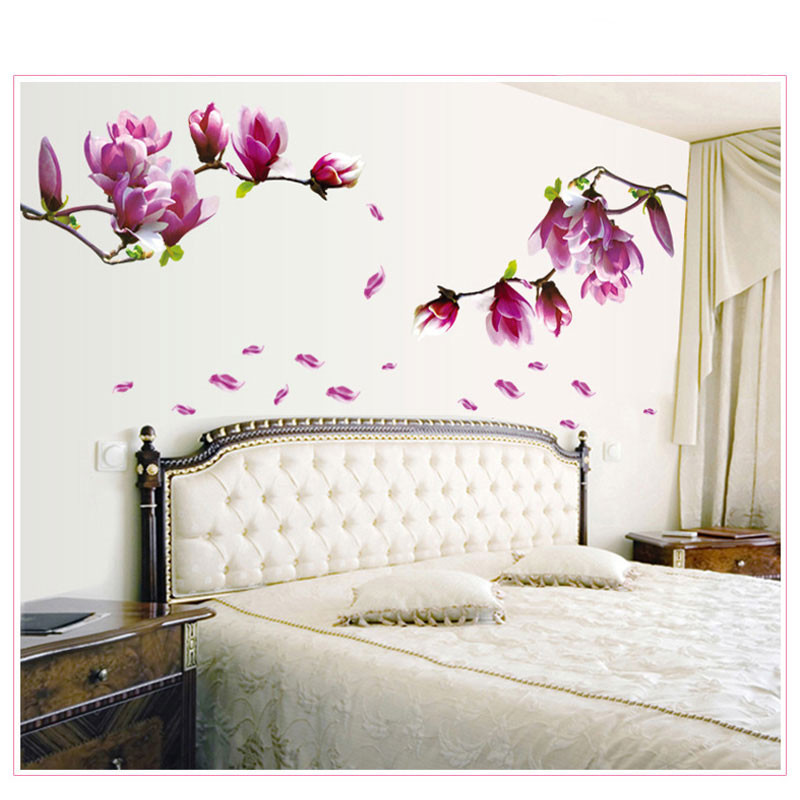 1PC Magnolia Flower Wall Stciker 3D Vinyl Wall Decals Living Room Home Decor Bedroom Poster Wall Stickers Decorative Wallpaper