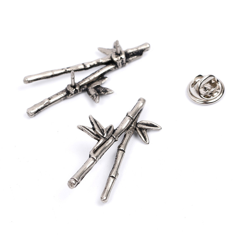 METAL BAMBOO SHAPE BROOCH PINS FOR MEN SUIT