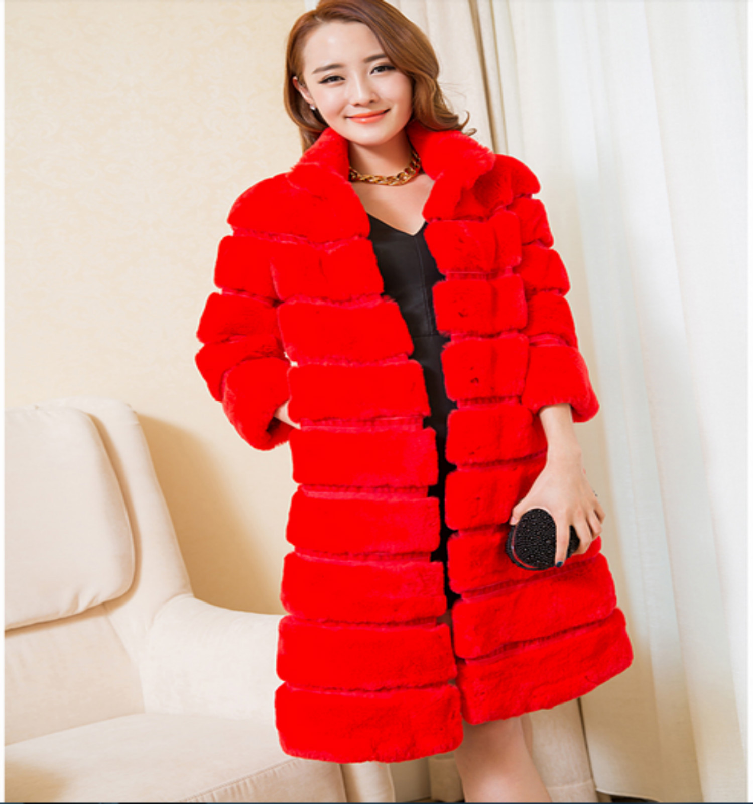 2016 fashion explosion models collar sleeve striped candy-colored leather rex rabbit fur noble fur coat(China (Mainland))