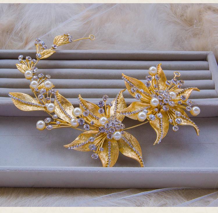 Корейский свадебные аксессуары для волос перлы rhinestone цветы 3d golden leaf роскошные украшения для волос головной убор головной убор
