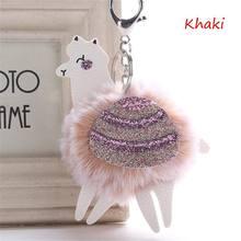 Bonito Bola de Pêlo de Coelho Fofo Alpaca Blingbling PU Paetês De Couro Da Corrente Chave Chaveiro Pompom Chaveiro Animais Charme Bugiganga Chaveiros(China)