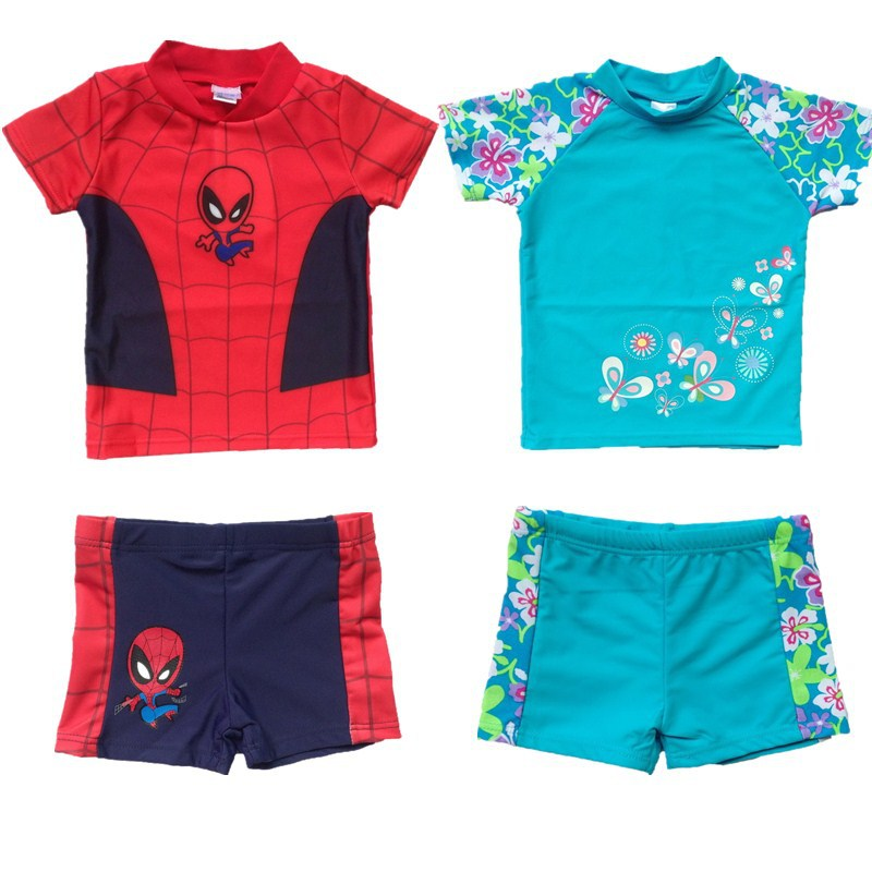 boys Girls swimwear rash guard Spider-man print flower swimsuit swimwear children boy cartoon blue red high quality