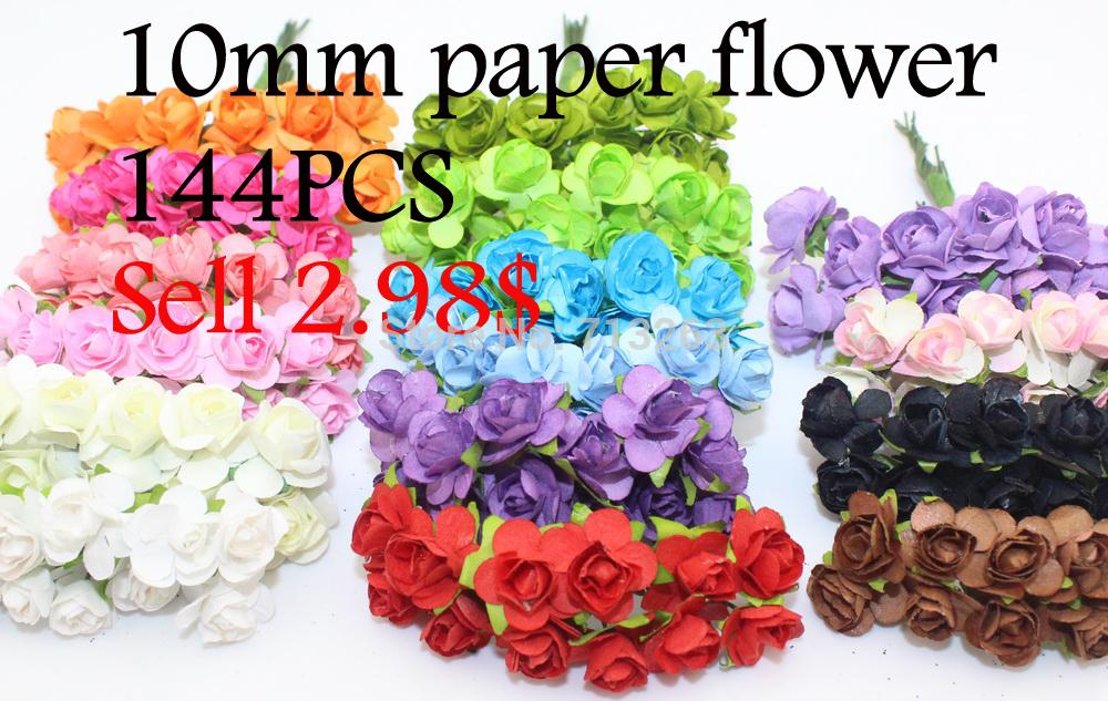 Free Shipping 144PCS Artificial Double Pink Paper Flowers For DIY Wedding Party(China (Mainland))