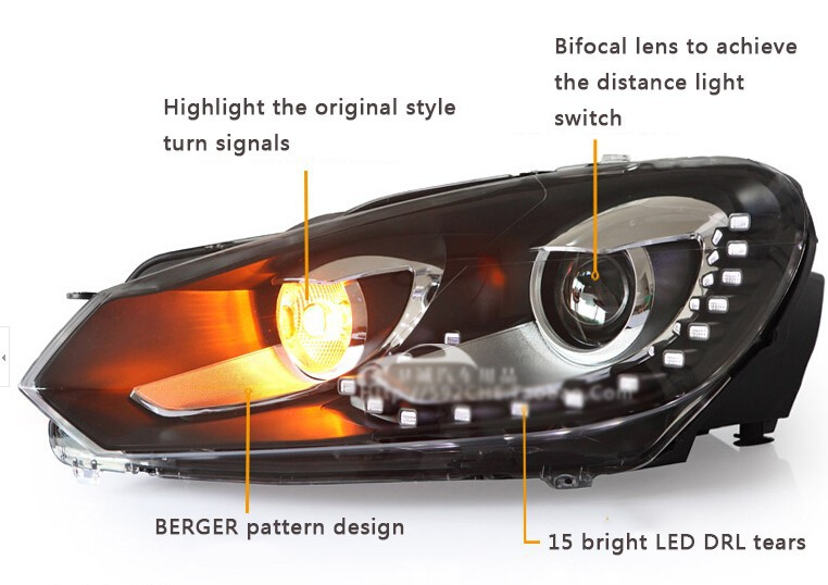 Auto Clud 2009-2013 For vw golf 6 xenon headlights car styling bi xenon lens 15 led DRL for vw golf mk6 head lamps H7 parking