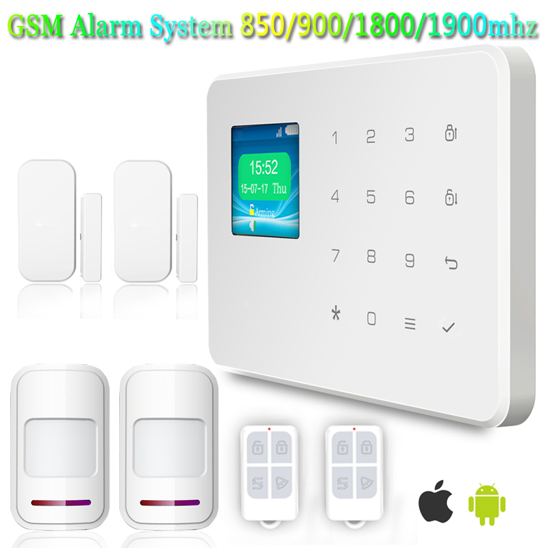G18 High Quality 2 X PIR Motion Detector Door Sensor 99 Wireless Zone English Voice Home Security GSM Alarm System App Control(China (Mainland))