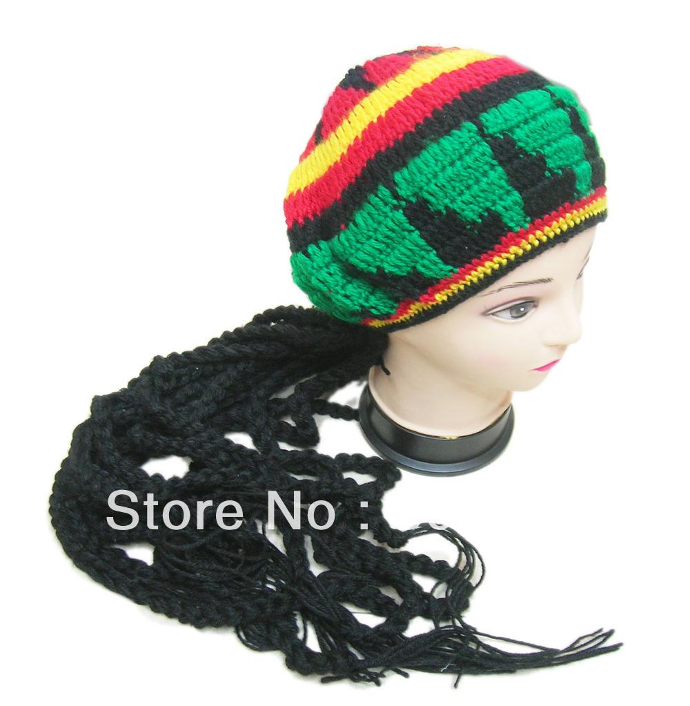 Free Shipping Jamaican Rasta Fancy Costume Knitting Hat Hippie Beret Halloween handmade Crochet Cap With Dreadlocks Wig Plait(China (Mainland))