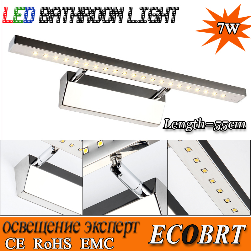 2015 Modern High Bright 7w Led Mirror Lighting Lamps Stainless Steel 55cm Long led Wall Light In Bathroom(China (Mainland))