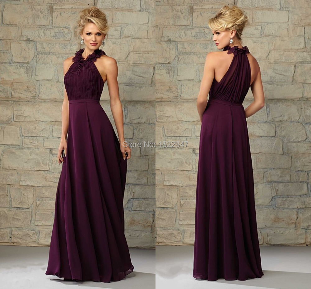 Vestido De Madrinha Plum Chiffon Long Bridesmaid Dress For Wedding Pleated Flowers Floor Length