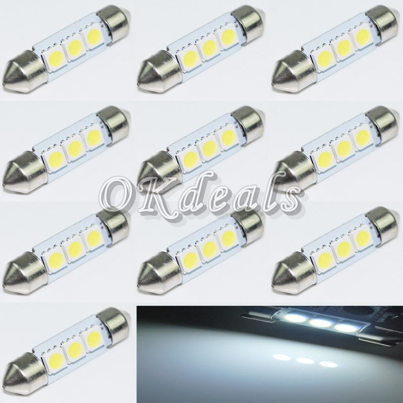 10PCS 36mm 12V C5W Cold White 3 SMD LED Festoon Interior Dome Light Lamp Bulb For Car(China (Mainland))