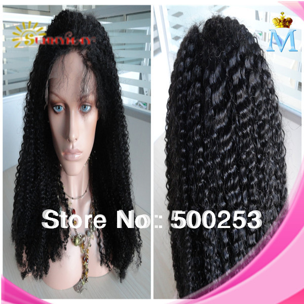 2014 fashion beautiful 6A quality Virgin Hair Product, Brazilian Hair 120 density lace front wigs for women kinky straight wig<br><br>Aliexpress