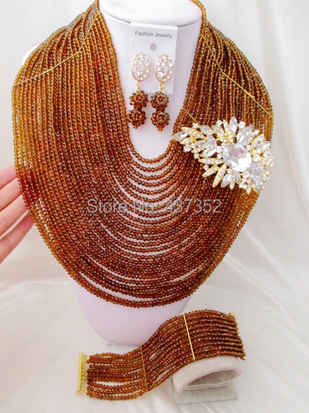 Necklaces For Women Brown Crystal costume jewellry nigerian wedding african beads jewelry set ABC597<br><br>Aliexpress