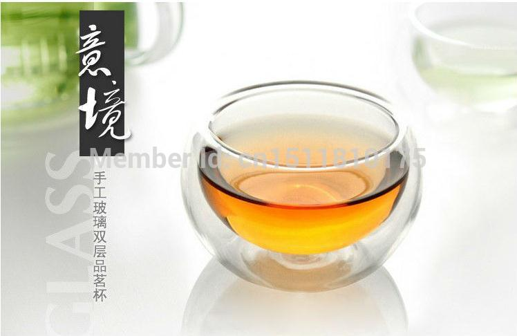 6pcs household 50ml glass drinking cup handcrafted double wall heat resistant tea cup brief and fashion