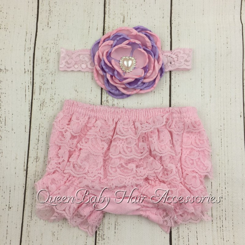6set/lot  Pink  Baby Lace Ruffle Shorts Matching Baby Headband  Baby Girl  Diaper Covers  Baby Ruffle Bloomer